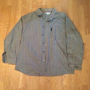 Columbia XXL Button Down Shirt Khaki Gray Pattern